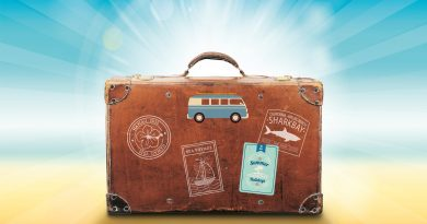 wakacje - walizka na plaży obrazek