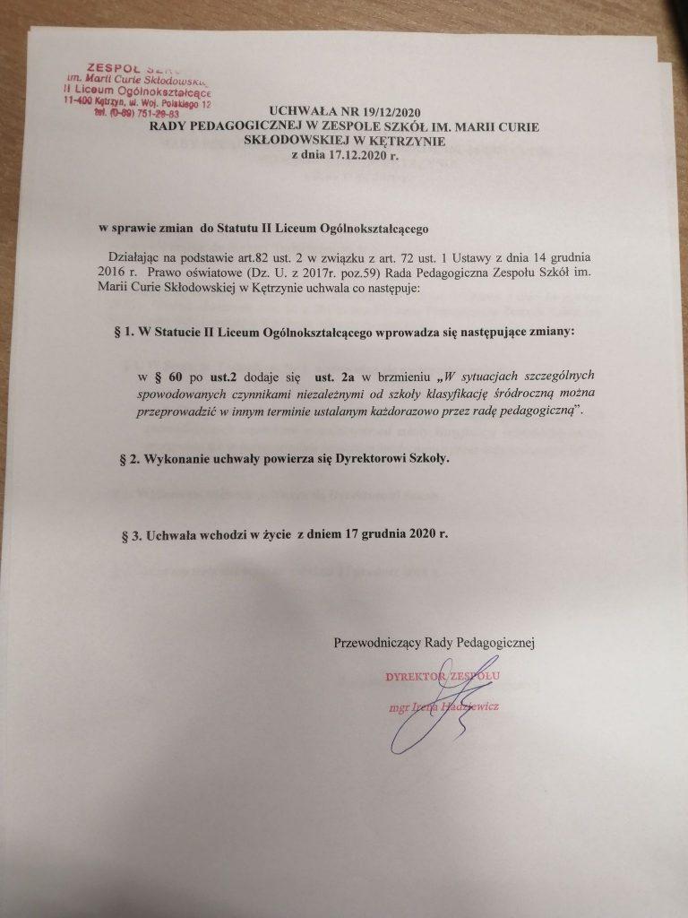 Uchwała nr 19-12-2020 RP z dn. 17.12.2020 w sprawie zmian do Statutu LO