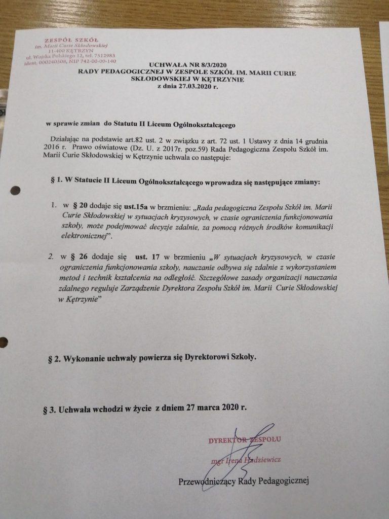 Uchwała nr 8-3-2020 RP z dn. 27.03.2020 w sprawie zmian do Statutu LO