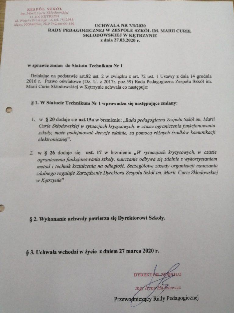 Uchwała nr 7-3-2020 RP z dn. 27.03.2020 w sprawie zmian do Statutu Technikum