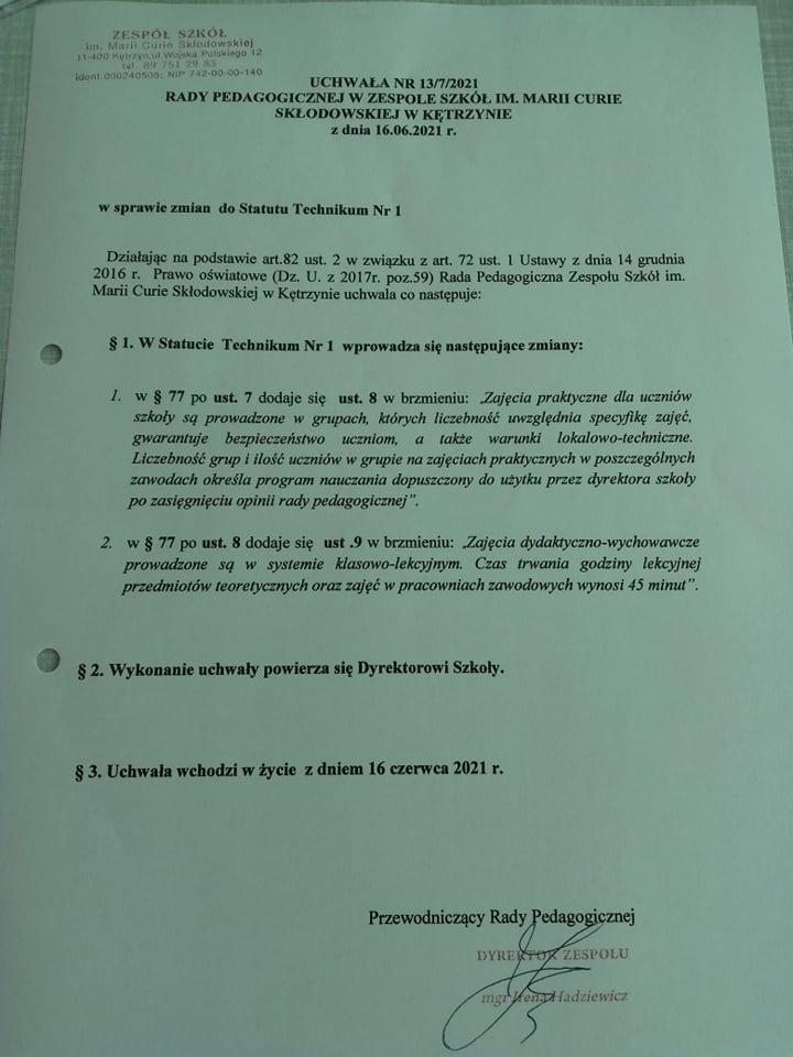 Uchwała nr 13-7-2021 RP z dn. 16.06.2021 w sprawie zmian do Statutu Technikum